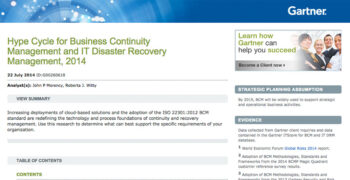 2014 Gartner Hype Cycle for Business Continuity and IT Disaster Recovery Management