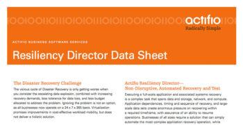 Actifio Resiliency Director Data Sheet