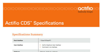 Actifio CDS Specifications