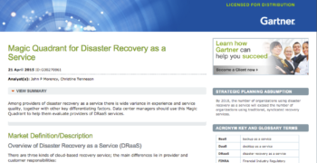 2015 Gartner Magic Quadrant for Disaster Recovery as a Service