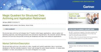 2015 Gartner Magic Quadrant for Structured Data Archiving and Application Retirement
