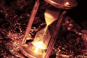 Hourglass and Gold Coins