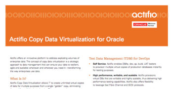 Actifio Copy Data Virtualization for Oracle