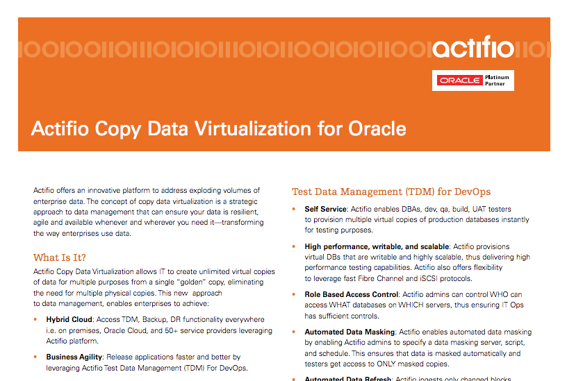 Disaster Recovery for Oracle
