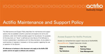 Actifio Support and Maintenance Policy