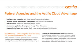 Federal Agencies and the Actifio Cloud Advantage