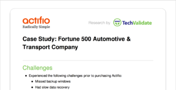 Fortune 500 Automotive & Transport Company Customer Brief