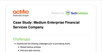Medium Enterprise Financial Services Company Customer Brief