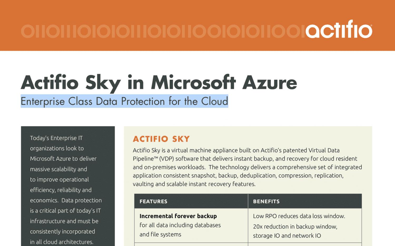 Acti o Sky in Microsoft Azure