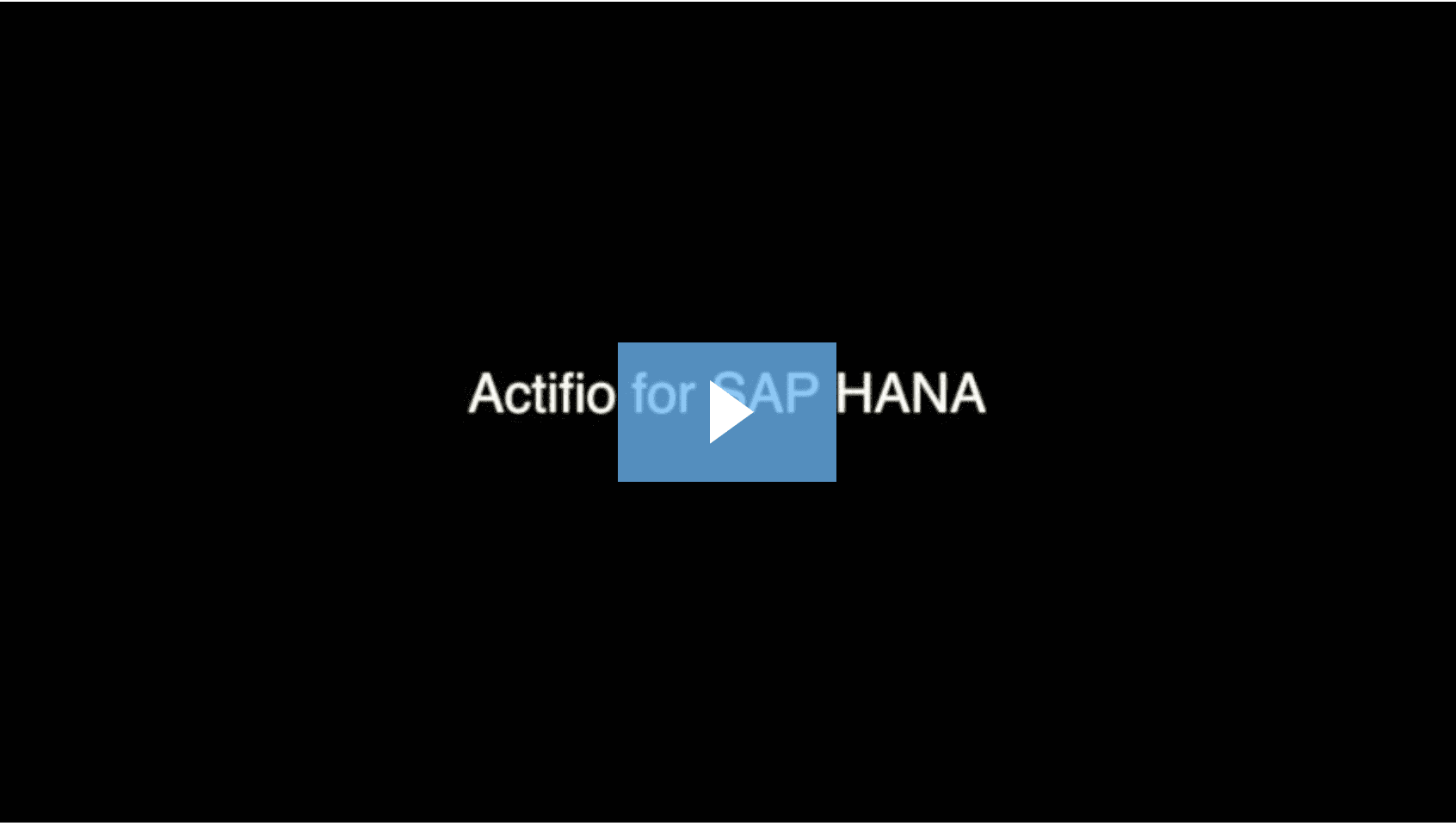 Actifio for SAP