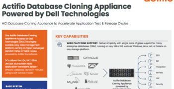 Actifio Database Cloning Appliance Powered by Dell Technologies
